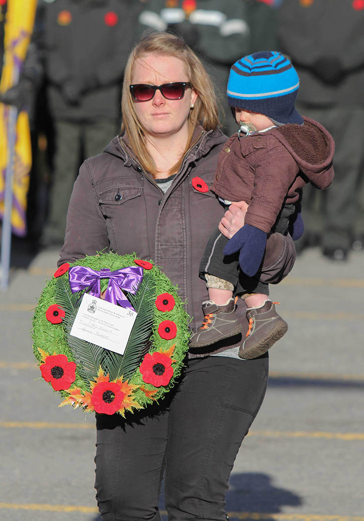 STITTSVILLE, ON. Nov.11 2016. Wreath for Linus Forbes placed at the Cenotaph by Amanda Wilson. Barry Gray (StittsviilleCentral)