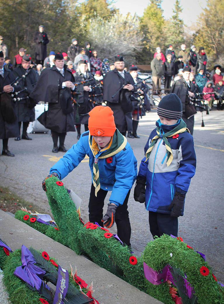 STITTSVILLE, ON. Nov.11 2016. Members of the 1st Stittsville Scout Troop place a wreath. Barry Gray (StittsviilleCentral)