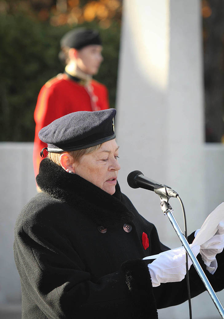 STITTSVILLE, ON. Nov.11 2016. Comrade Judy Campbell, President of the Stittsville Legion read opening ceremony remarks. Barry Gray (StittsviilleCentral)