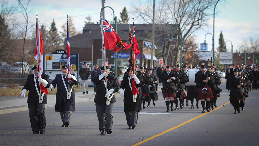 STITTSVILLE, ON. Nov.11 2016. The Colour Party leads the parade down Stittsville's Main Street. Barry Gray (StittsviilleCentral)