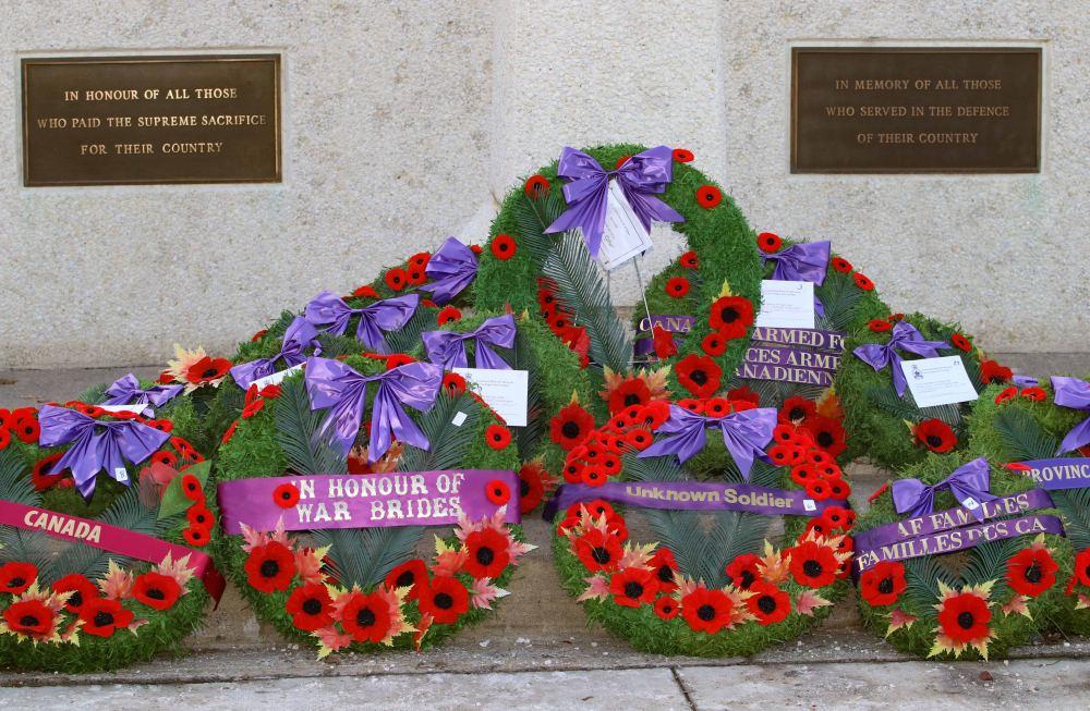 Wreaths deck the cenotaph.