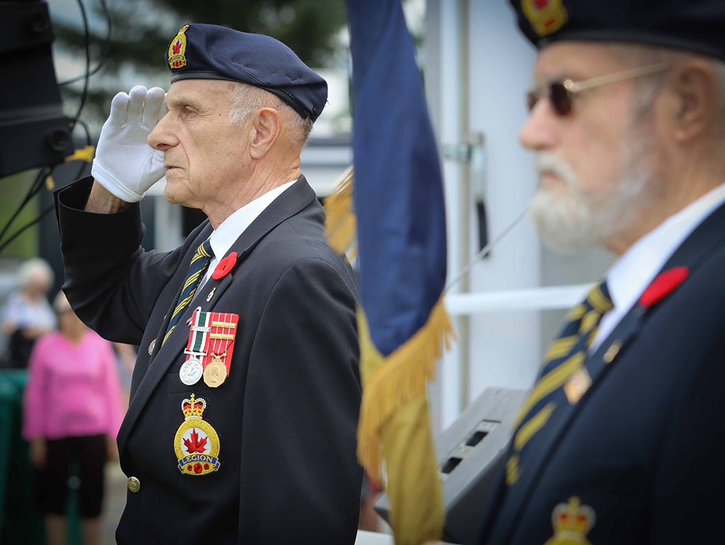 Stittsville Legion colour party. Canada 2017 in Stittsville. Photo by Barry Gray.