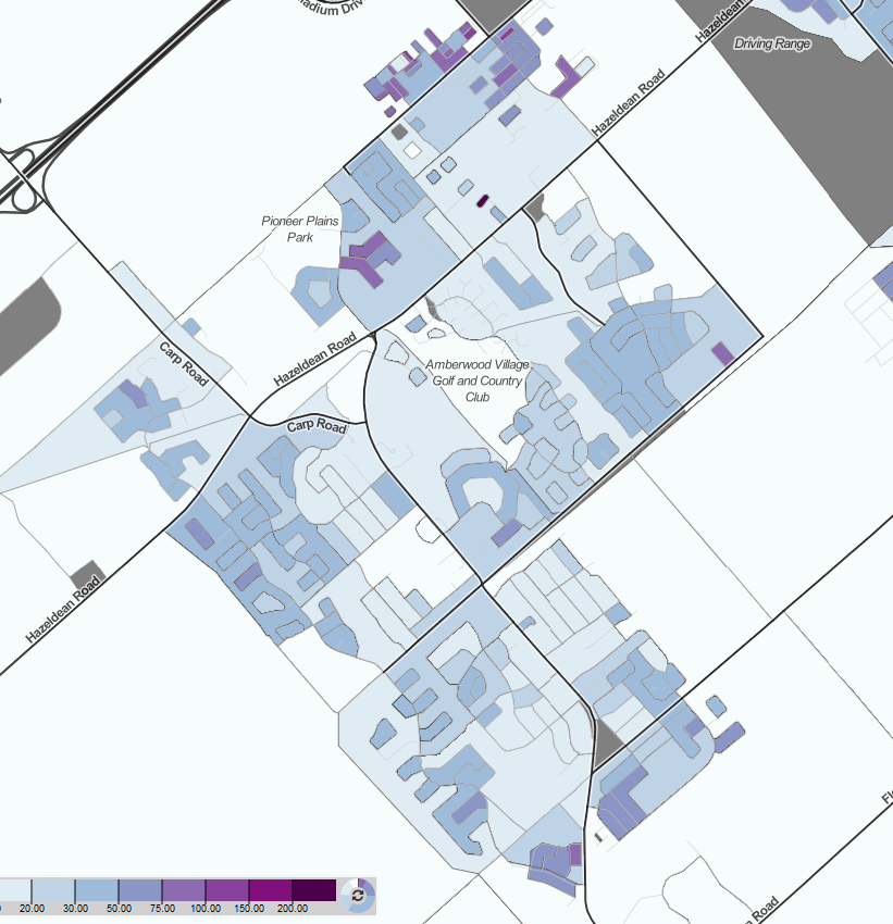 A map showing Stittsville's density levels, based on the 2016 census. Low density is white to light blue, while higher densities are indicated by purple.