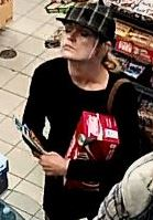Smoketree Crescent break & enter: The female suspect is described as Caucasian female, 30-40 yrs, medium build, long blonde hair, sometimes worn in a ponytail. At the time she was wearing a black long sleeve shirt, black plaid hat, and black pants.