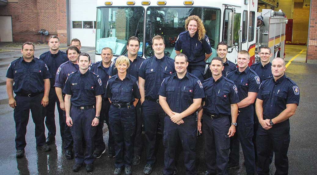 Stittsville's volunteer firefighters in front of Station 81. Photo by Barry Gray.