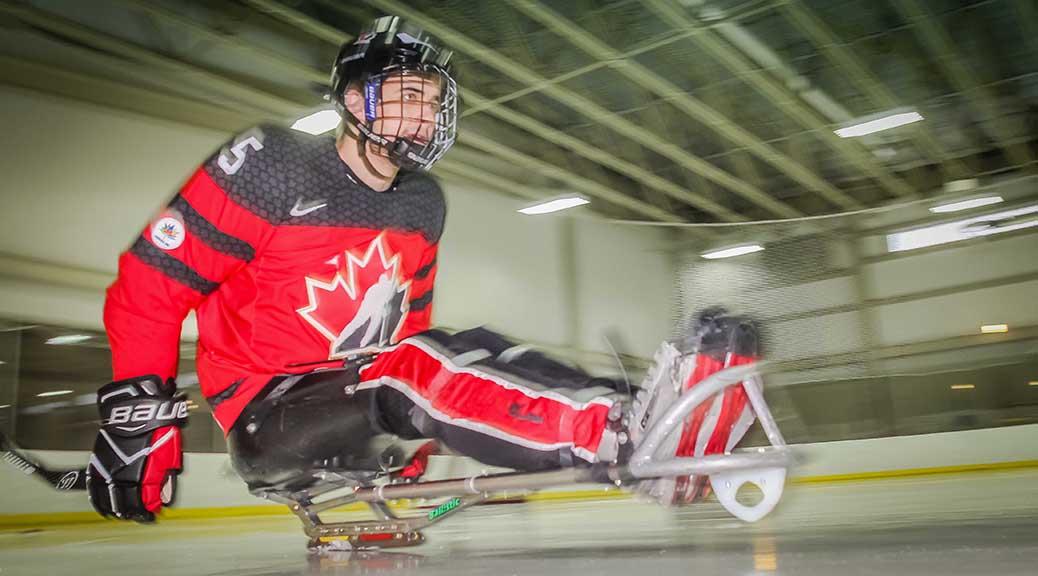 Tyrone Henry of Stittsville on the ice at GRC. Tyrone is a member of the Canadian National Sledge Hockey Team that won Gold in South Korea. Photo by Barry Gray.
