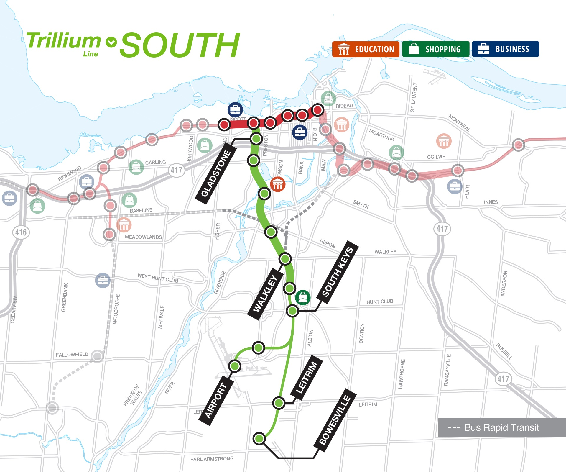 O-Train Trillium South map