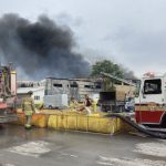 Two-alarm fire at Tomlinson recycling plant