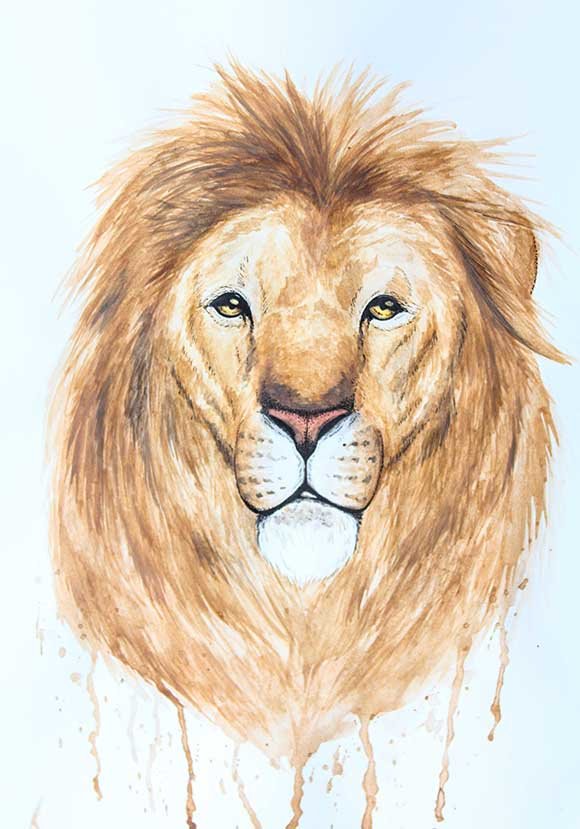 Painting of a lion, by Rebecca Woodrow. Photo by Barry Gray.