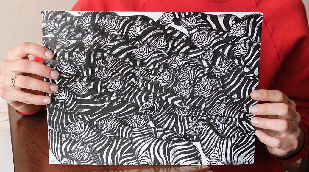 Zebra Herd, by Rebecca Woodrow. Photo by Barry Gray.