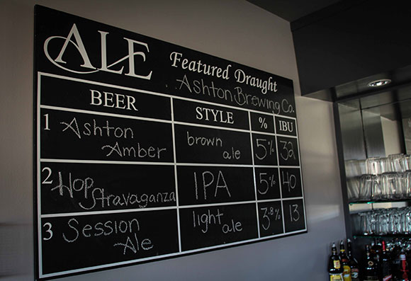 The beer board at ALE. The plan is to rotate craft/local beers every 2-3 weeks. Photo by Barry Gray.