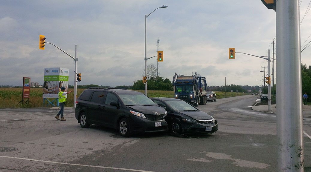 Collision at Huntmar and Maple Grove on August 14 just before 9:00am.