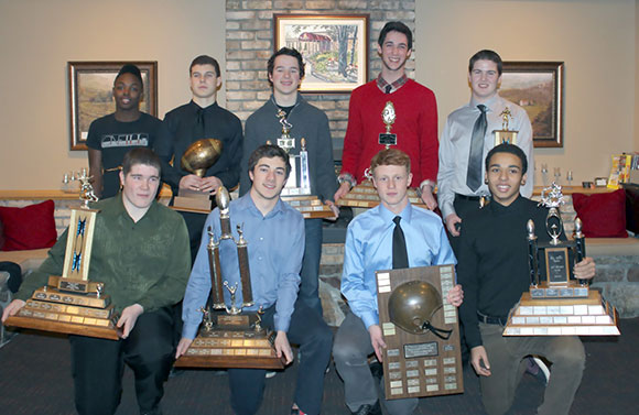 2014 Bantam Award Winners:  Front Row (L to R):  Best D-Line – Jacob Stuart-Lafleur (Nepean); Best Defensive Back – Nicolas Barnes (Gatineau);  Coaches Choice – Jacob McPhee (Perth);  Outstanding Defensive Player – Sheldon Thomas (Nepean);  Second Row (L to R):  Rookie of the Year – Sam Roberts (Nepean);  Leadership Award (NEW this year) – Ross Polito  (Stittsville); Outstanding Offensive Player – Brendan Sheahan (Nepean);  Most Versatile – Jack Rabb (Richmond);  Best O-Line – Liam Cochrane (Nepean);  Missing from Photo:  Most Valuable Player – Andrew Beattie (Richmond); Most Improved – Liban Musse (Nepean)