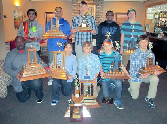 Mosquito:  Front Row (L to R):  Outstanding Defensive Player – Shyreek Phillips (Nepean);  Most Improved Player – Edward Kinsella (Nepean); Outstanding Offensive Back – Joshua Baylin (Nepean); Outstanding Defensive Back – Jacob Smith (Nepean); Rookie of the Year – Jack Buckley (Stittsville). Back Row (L to R):  Best O-Line – Kai Padamshi (Nepean), Outstanding Offensive Player – Trey O'Brien (Nepean); Most Valuable Player – Ethan Ryan (Carleton Place);  Best D-Line – Eben Dibula (Nepean), Coaches Choice – Daniel Briere (Nepean); Missing from the Photo:  Most Versatile – Thom Dulmage (Kemptville);