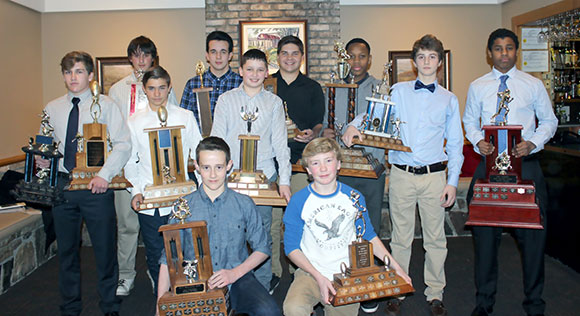2014 Pee Wee Award Winners:  Front Row (L to R):  Outstanding Defensive Back – Kyle Crabtree (Stittsville); Rookie of the Year – Nicholas Walter (Stittsville);  Middle Row (L to R):  Warrior Award and Outstanding Offensive Back – Andrew Fullerton (Stittsville);  Best Linebacker – Jérémy Paré (Stittsville);   Most Improved – Jacob Baylin (Crystal Beach); Back Row (L to R):  Best O-Line– Andrew Bagg (Beckwith);  Best D-Line – Ryan Pacholik (Manotick); Outstanding Defensive Player – Steven Schwartz (Nepean);  Most Versatile – Aron Masalingi (Nepean);  Coaches Award – James Keenan (Stittsville); Most Valuable Player – Malik Yusuf (Stittsville);  Missing from photo:  Outstanding Offensive Player – Eric Conley (Nepean).