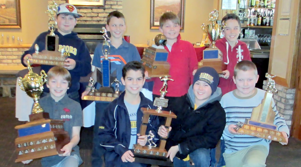 Tyke award winners: Front Row (L to R): Most Valuable Player – Avery Osborne (Stittsville); Coaches Choice – Kameron Klyn (Nepean) and Owen Lavigne (Nepean); Most Improved Player – Dylan Krout (Nepean). Back Row (L to R): Best D-Line – Hunter Watson (Stittsville), Most Versatile – Zachary Baylin (Nepean); Outstanding Defensive Player – Ryan Morissette (Richmond); Outstanding Offensive Player – Alex Miles (Stittsville). Missing from Picture: Rookie of the Year – Keyshawn Reid (Nepean); Best O-Line – Kaesar Dualeh (Nepean);