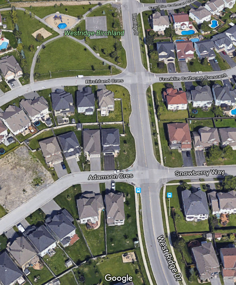 The new sidewalk will run along the west side of West Ridge from Adamson to the Westridge-Birchland park. Via Google Maps.