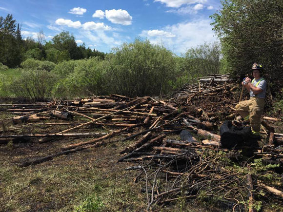 Brush fire behind Birchland Drive on Sunday, May 28