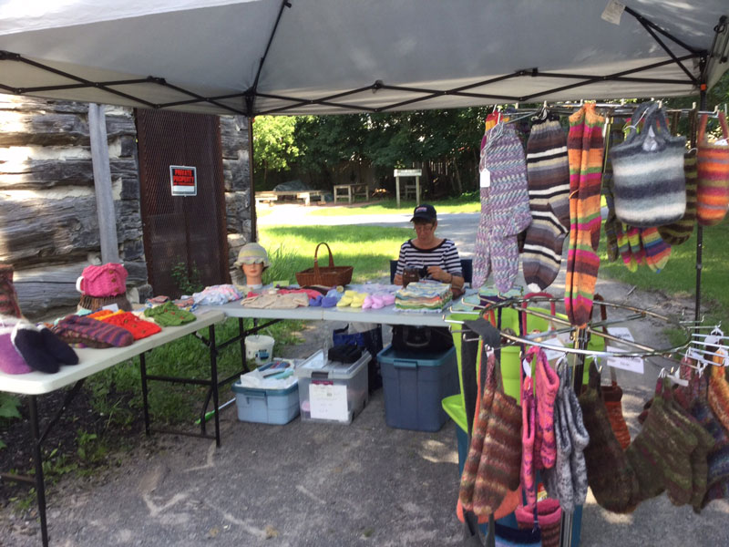 Chris is a committed, regular stall holder, offering a wide assortment of colourful knitted and felted products using natural fibres.