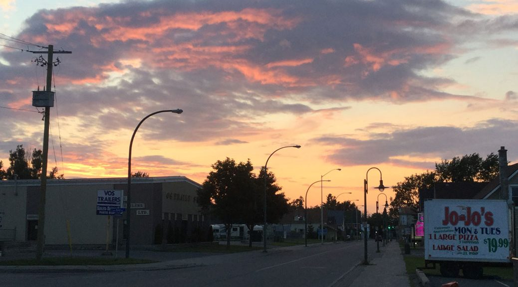 Sunset over Main Street, Sunday evening. Photo by Janice Blain.
