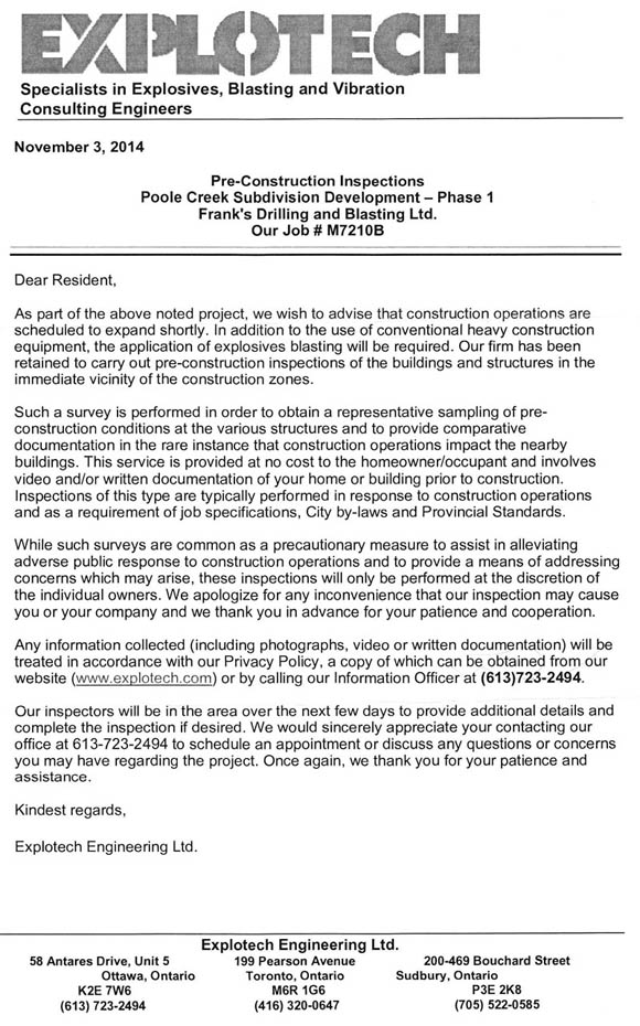 Letter about blasting for Poole Creek Village