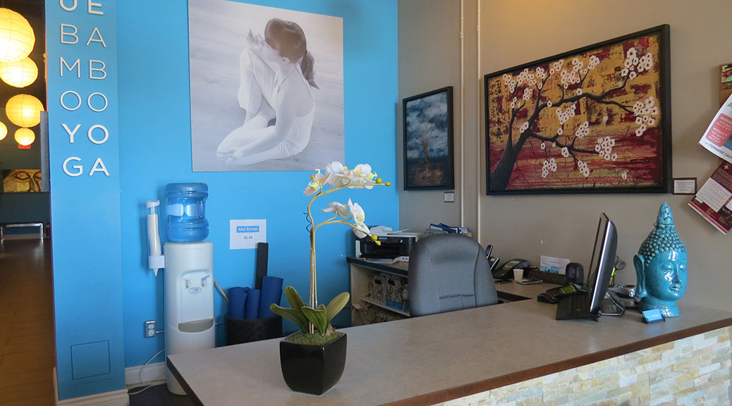 Reception desk at Blue Bamboo Yoga, Stittsville