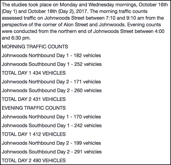 A summary of traffic counts collected by Carol Lenz of the Bryanston Gate Community Association on October 16 and 18.