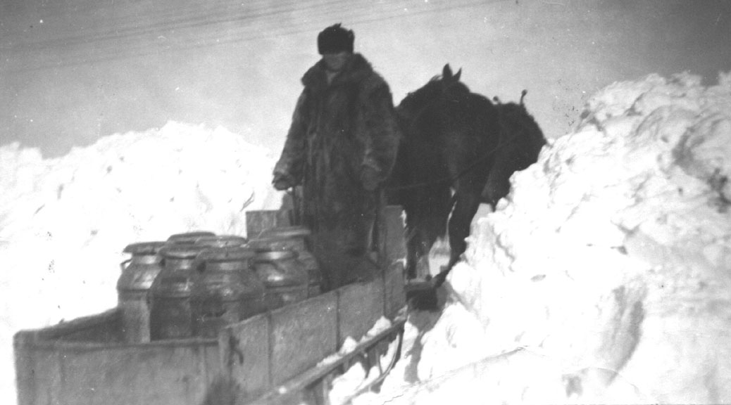 Byron Boyd with a load of milk at Eagleson's Corners, to meet a truck from Producers Dairy after a big snowstorm. In the summer the truck came to the house, 1940. Goulbourn Township Historical Society Collection.