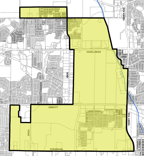 The areas in yellow are currently classified as Kanata addresses by Canada Post. Councillor Shad Qadri wants them changed to Stittsville.
