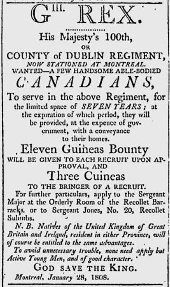 Newspaper clipping from the Canadian Gazette, January 1808.