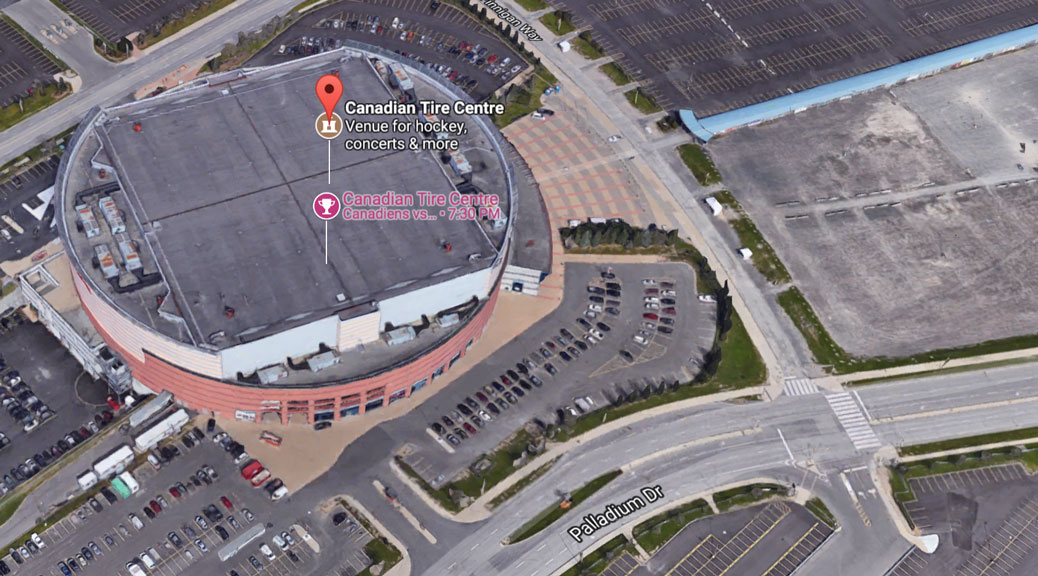 Aerial view of Canadian Tire Centre. Via Google Maps, accessed October 30, 2017.