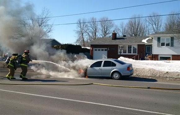Car fire on Shea Road. Photo via Todd Horricks, Ottawa Fire Services.