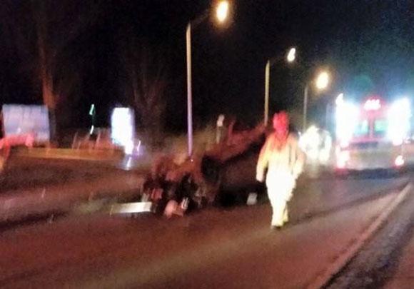 Car Flipped over on Hazeldean Road