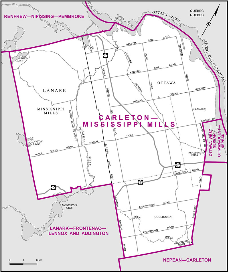 "Map of the ""old"" Carleton-Mississippi Mills riding."