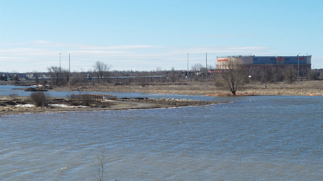 Carp River, April 8, 2017. Looking towards the Queensway and Canadian Tire Centre, from Terry Fox Drive.