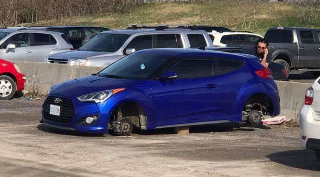 Jeff Levere arrived back at his car after work to find all four wheels stolen.