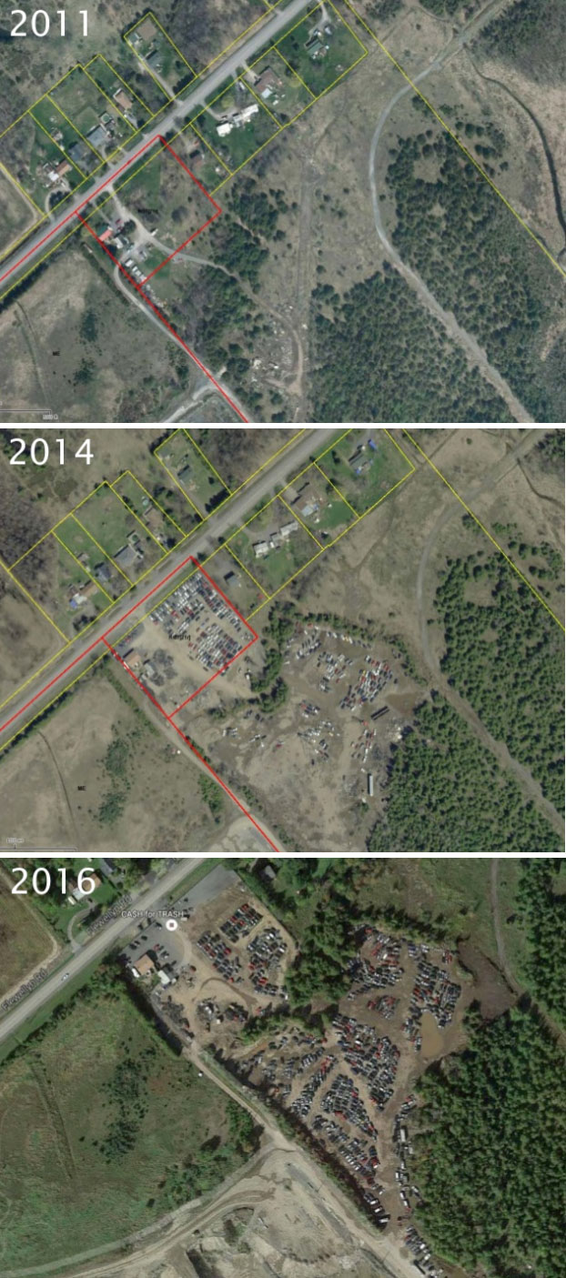 Aerial photos from 2011, 2014 and 2016 showing how Cash For Trash has expanded.