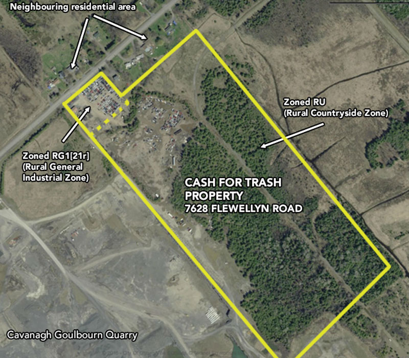 The Cash for Trash and surrounding property in 2014. Aerial image via Google Maps.