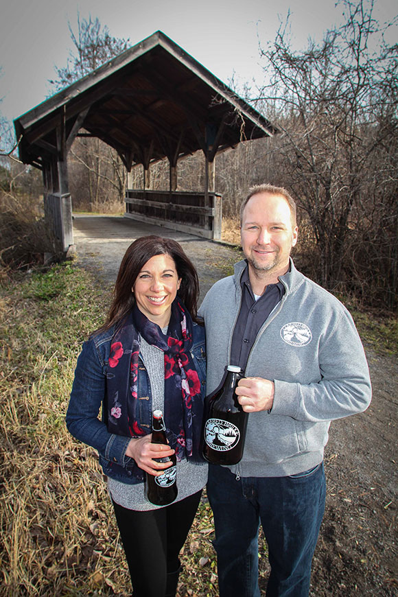 Kathy and John vanDyk, owners of Covered Bridge Brewing. Photo by Barry Gray.