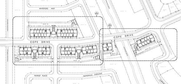 "Site plan map.  Note that Terry Fox Drive along the left is identified as ""Hazeldean Side Road""."