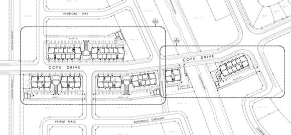 "Site plan map. Note that Terry Fox Drive along the left is identified as ""Hazeldean Side Road""."