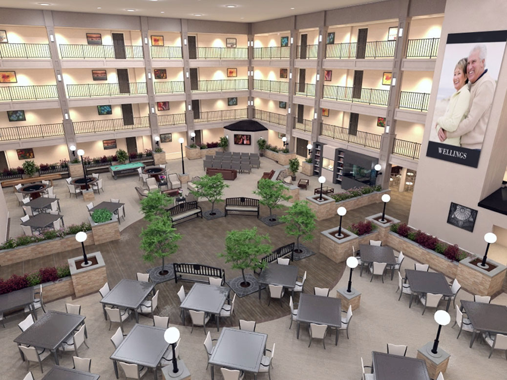 The inside of the apartment building would include a large atrium, like this Wellings project in Sarnia.