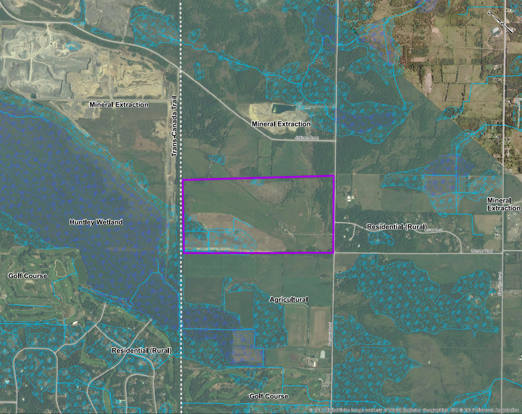 Location of the proposed Crain Quarry between the Trans Canada Trail and Fernbank, just west of Jinkinson. (click for full size)