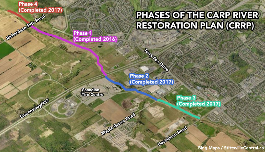The Carp River Restoration plan includes 5200 linear meters of water from Hazeldean Road to just north of Richardson Side Road.  Work will be completed in phases starting this fall, and is expected to last until November 2017.