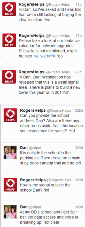 Screen capture provided by Dan Pak - interaction with Rogers customer service