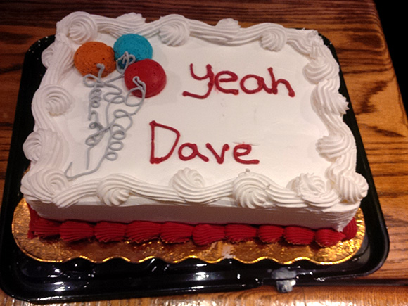 Yeah Dave. Cake at Dave Lee's campaign party at the Main St. Pub. Photo by Glen Gower
