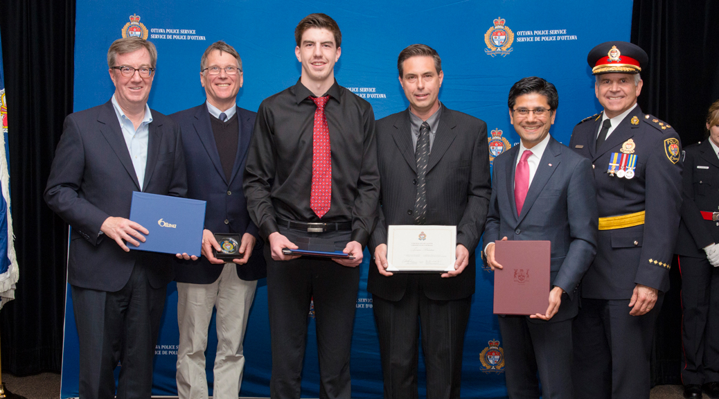 Terrance Davidson, and his son Geoffrey received a Certificate of Valour for their actions to save a man's life in January 2016. Ottawa Police Service – Imaging