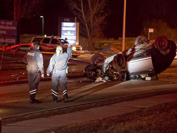 Car crash on Hazeldean Road, March 26, 2015.