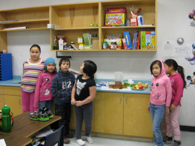 Kds at Sakku School in Coral Harbour, Nunavut. They're part of a breakfast program established five years ago through Eva von Jagow's fundraising efforts.