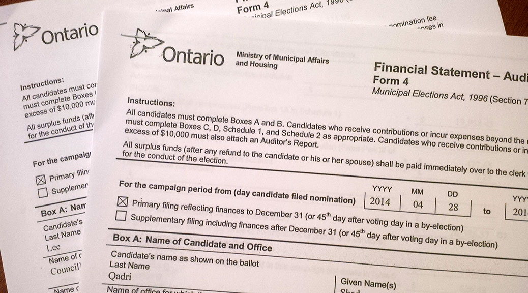 Election financial returns